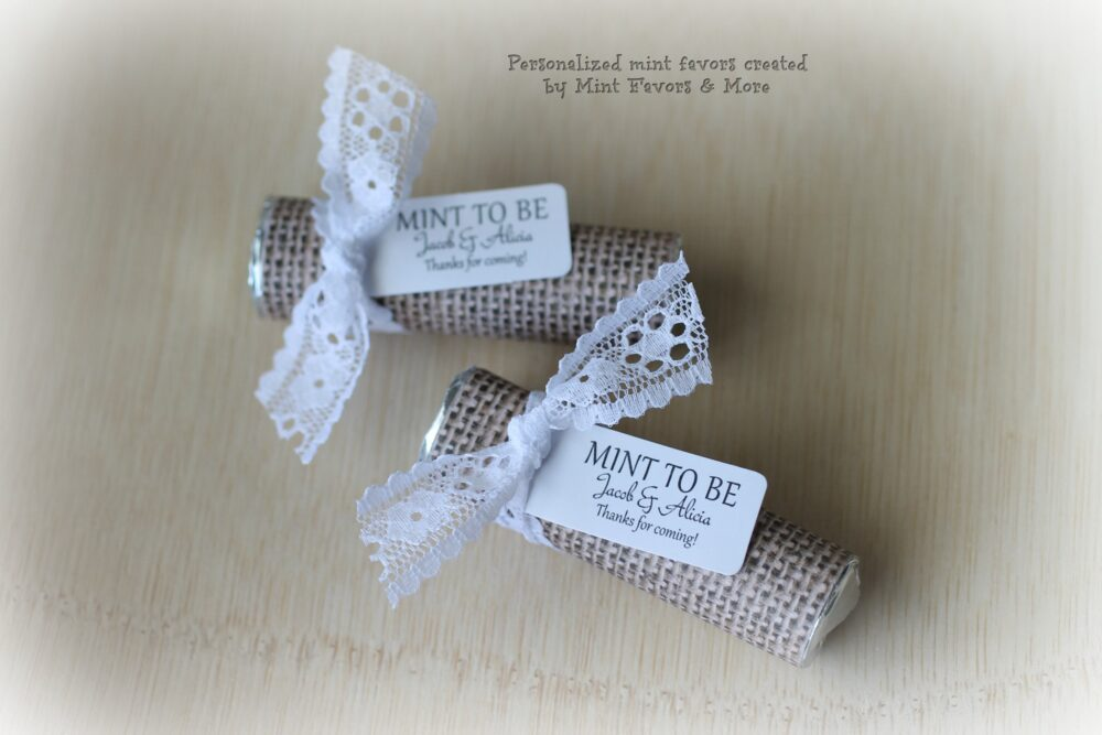 Burlap & Lace Theme Wedding Favors, Mint To Be Favors With Personalized Tag, Mints, Theme, Chic