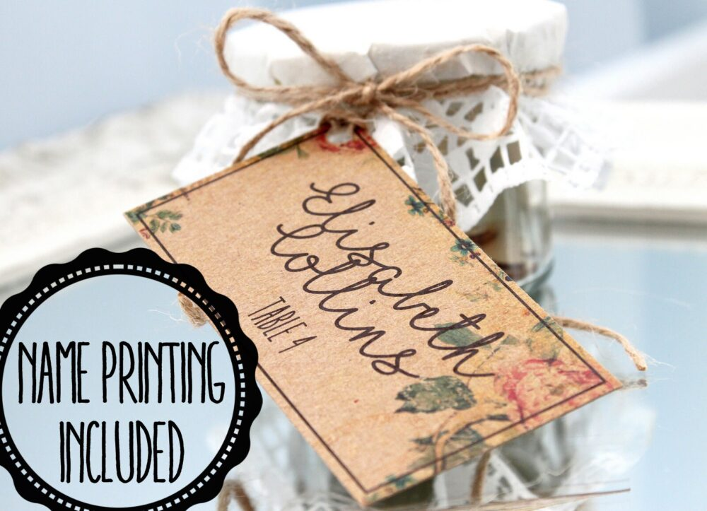 Personalized Vintage Wedding Favor Tags, Kraft Tags For Favors, Shabby Chic Name Place