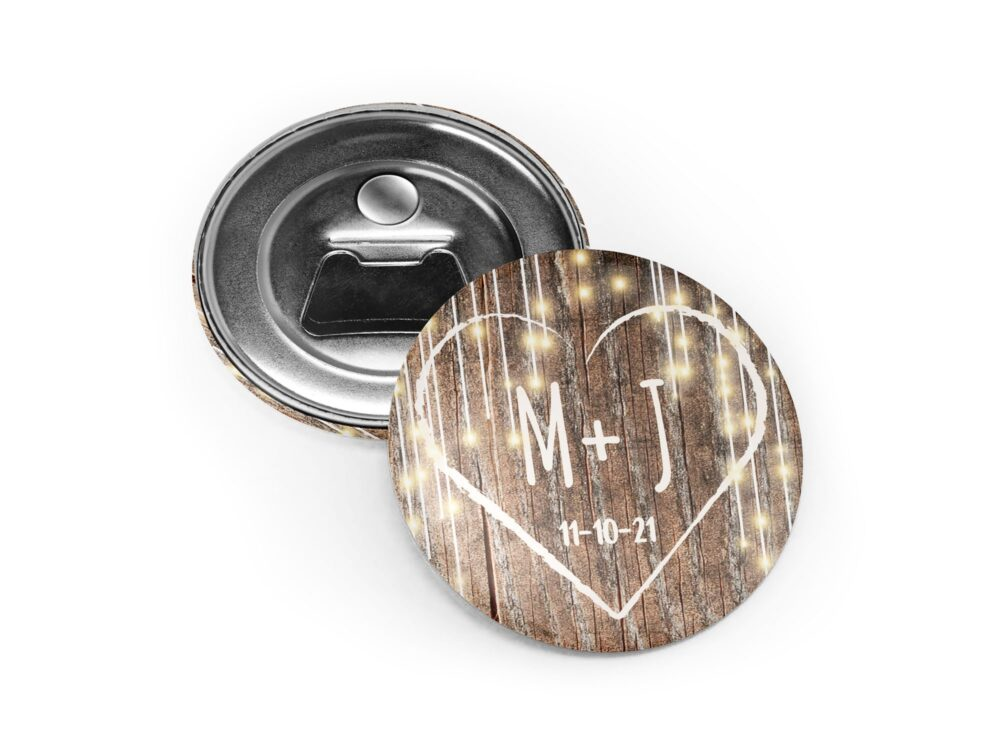 Rustic Wedding Favors, Bottle Opener, Hanging Lights, Country Wooden Magnet, Personalized Favors For Guests