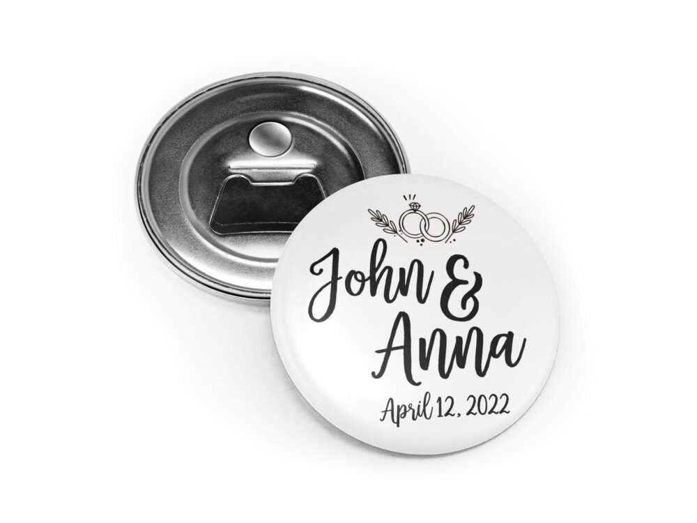 Wedding Favors For Guests in Bulk, Wedding Bottle Openers, Fridge Magnets, Beer Bottle Opener, Personalized, Party Buttons