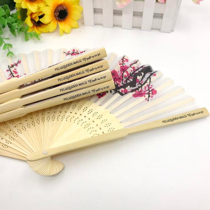 Personalized Hand Fan For Wedding, Silk Fans Cherry Blossoms, Hand Fan Wedding Favor, Engraved, Bridal Shower, Each Comes With Organza Bag