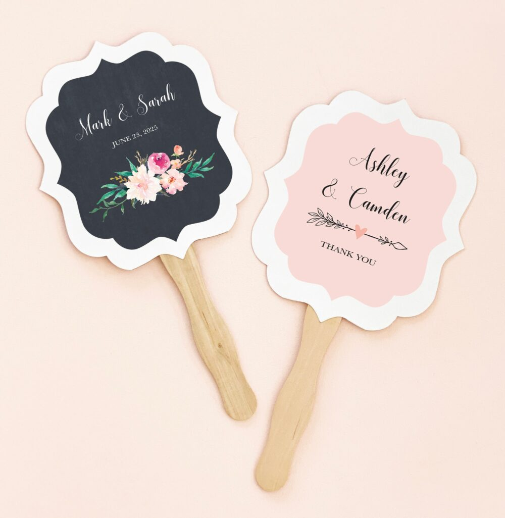 Wedding Fan Personalized Wooden Paddle Favors Paper Hand Outdoor Ideas | Eb2354Gdn 24| Pcs