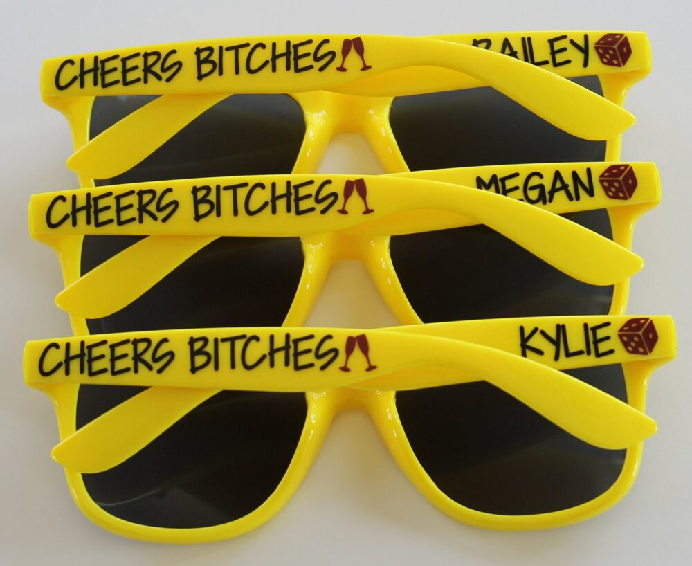Personalized Sunglasses, Custom Wedding Favors, Bachelorette Gifts, Party Girls Weekend, Birthday Sunglasses