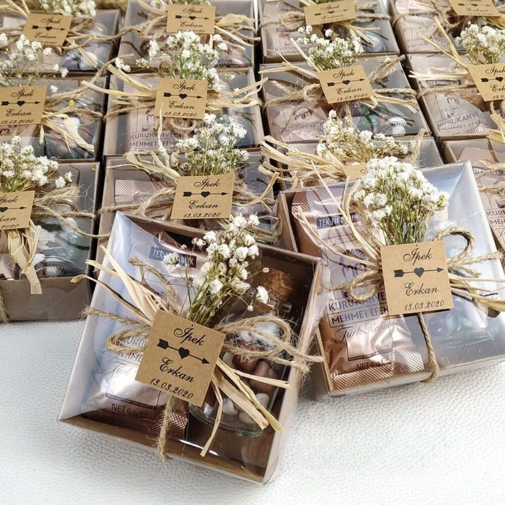 45 Pieces Wedding Chocolate Favors For Guests, Rustic Favors, Wedding Coffee Favors, Baby Shower Favors, Baptism Favors, Engagement