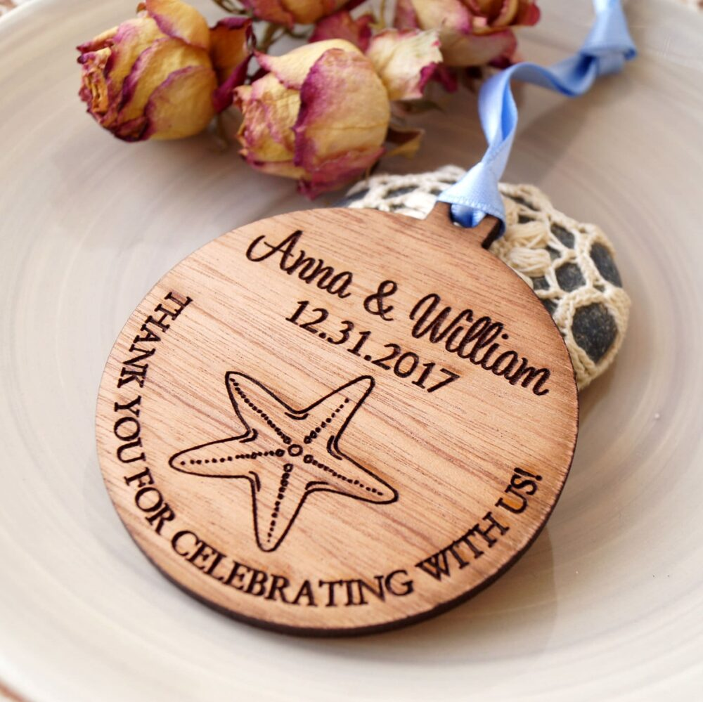 Wedding Favors, Personalized Ornaments, Beach Wedding Wooden Favor Thank You Set Of 25 Pc