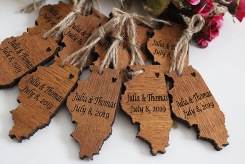 Wedding Ornaments Favors, Personalized Wooden Christmas Ornaments, Wood Favor, Thank You Rustic Favor