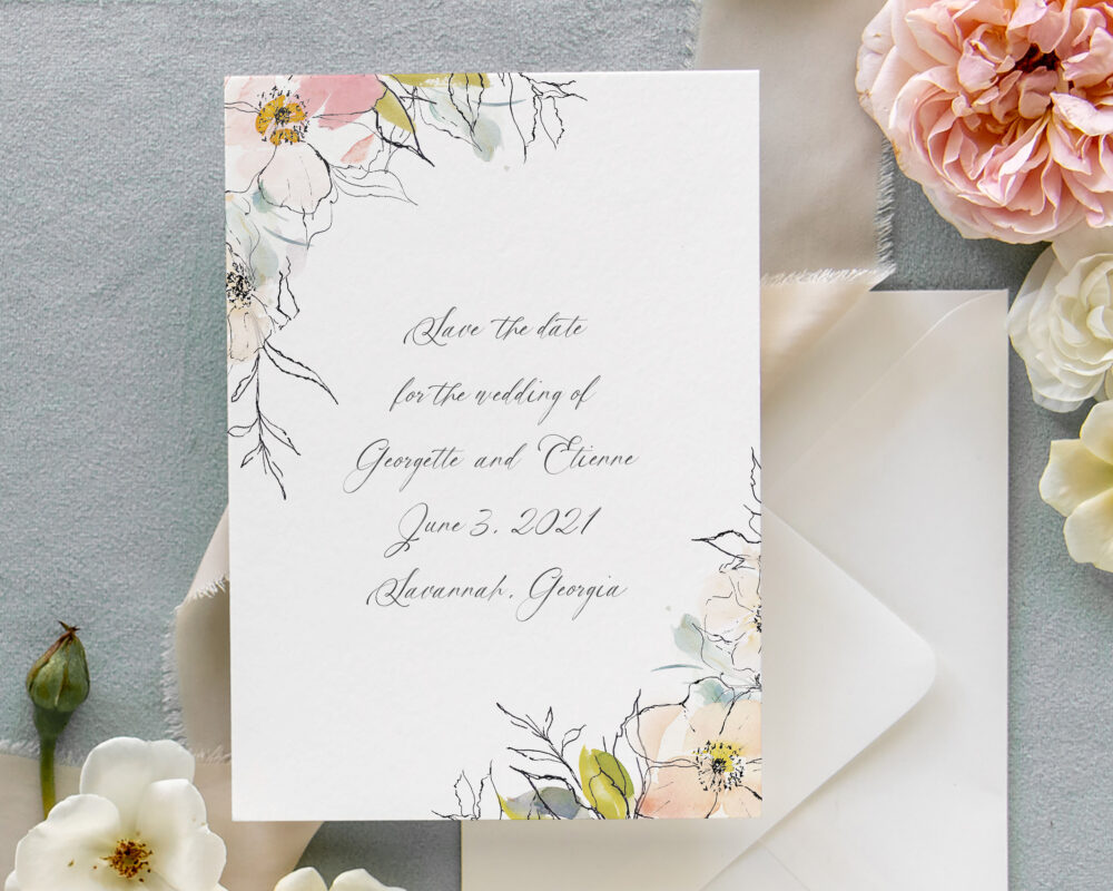 Floral Wedding Save The Date Cards | Postcard Printable Watercolor