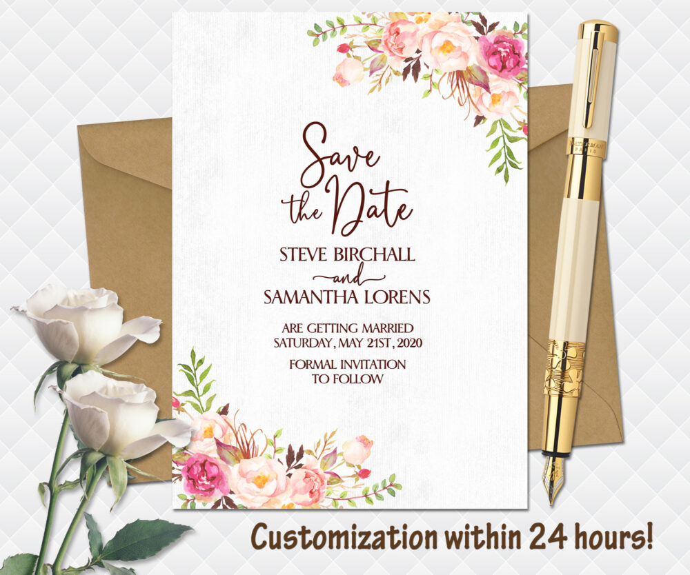 Floral Wedding Save The Date Printable Boho Bohemian Date Pink Roses Bouquet Peonies Cards