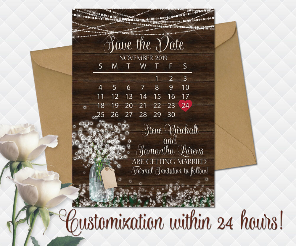 White Floral Wedding Save The Date Rustic Printable Baby's Breath Date White Bouquet Bridal Cards Wooden Save The Card