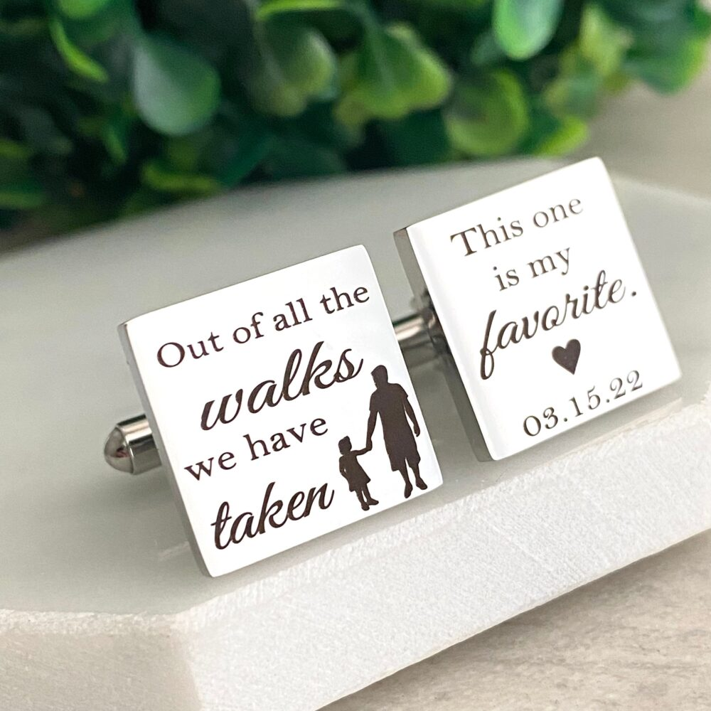 Father Of The Bride Cufflinks, Wedding Cufflinks For Dad, Personalized Engraved Silver Square