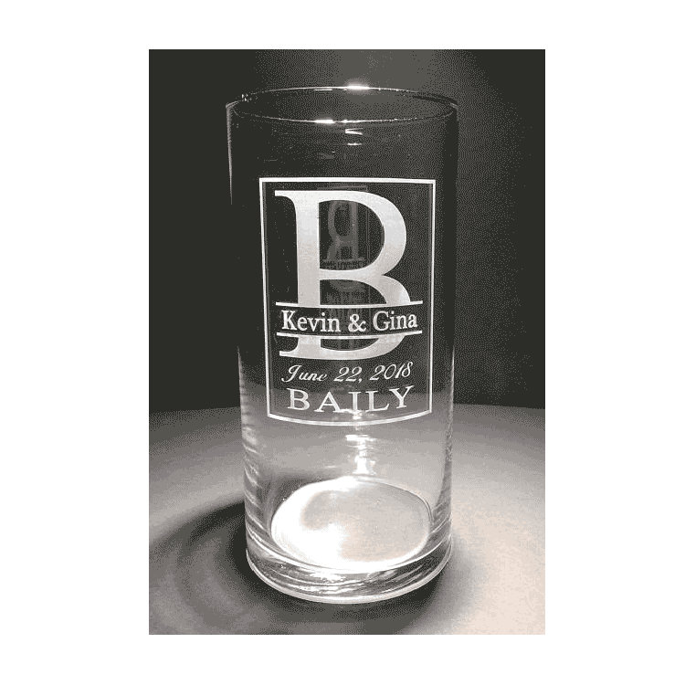 Custom Etched Wedding Vase, Personalized Monogram Cylinder, Glass Couples Gift, Bride & Groom Gifts