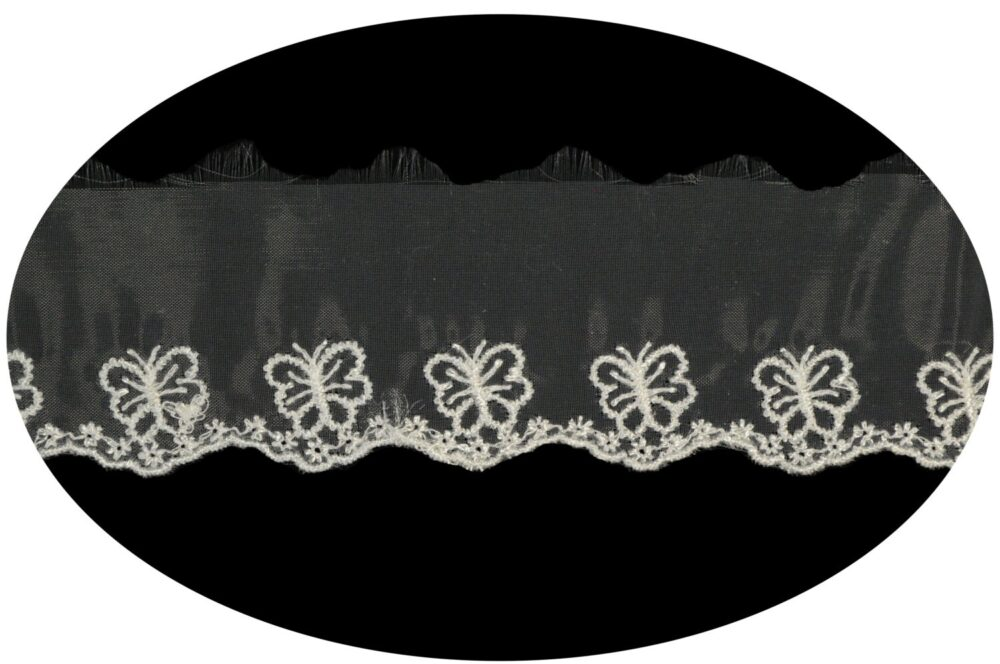 1.75 Inches Wide Butterfly Embroidery Sheer Organza Scalloped Lace Trim Scrapbooking Sewing Notions Craft Supplies Vh11699