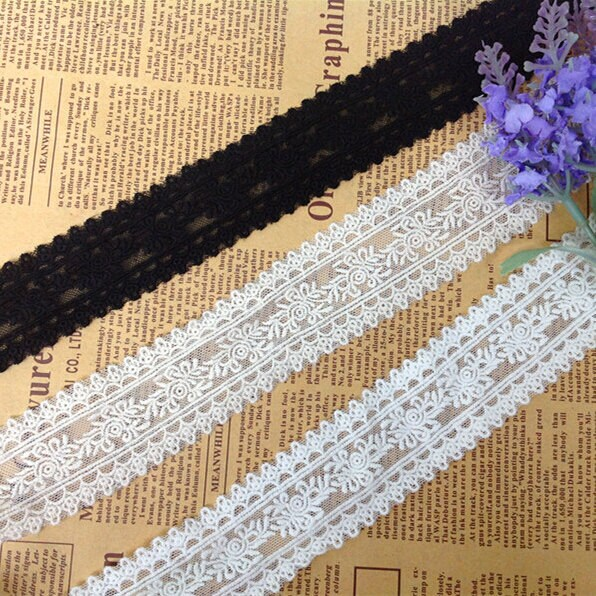 """10 Yard/Lot Width 4cm 1.57"""" Beige/Black Mesh Rose Embroidery Lace Trim Ribbon Fabric For Dress Clothing 1042160L4K469"""