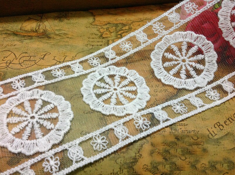 """5 Yards/Lot Width 6.5cm 2.55"""" White Organza Embroidery Lace Trim Ribbon Fabric For Dress /Skirt Clothes L4K521"""