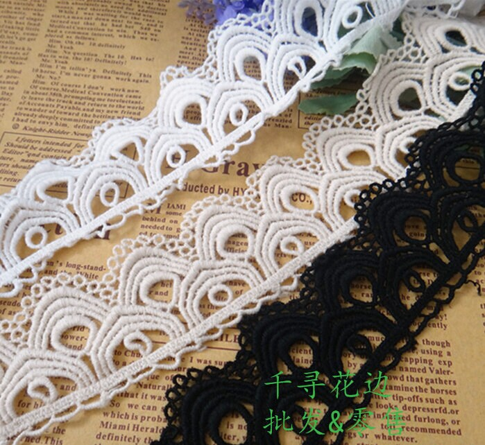 """5 Yards/Lot Width 4cm 1.57"""" Black/White Scalloped Cotton Embroidery Lace Trim Ribbon Fabric For Dress/Skirt Clothes L4K535 1012788"""