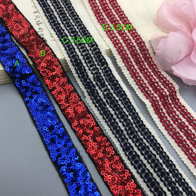 10 Yard 2-3.5cm Wide Rayal Blue Red Navy Sequins Cotton Tapes Lace Trim Ribbon Ml211P792