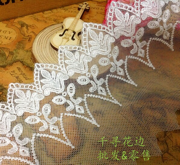 """5 Yards/Lot Width 10cm 3.93"""" White Cup Mesh Rayon Embroidery Lace Trim Ribbon Fabric For Dress /Skirt Clothes L4K523"""