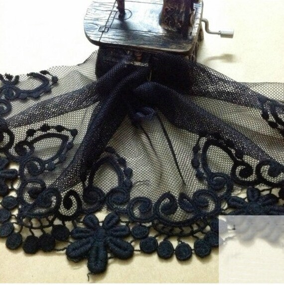 """5 Yards/Lot Width 12cm 4.72"""" White/Black Cotton Mesh Embroidery Lace Trim Ribbon Fabric For Dress Clothes L4K54 31116"""
