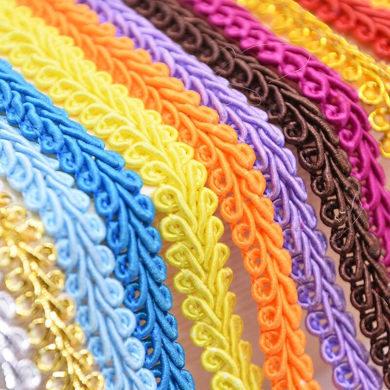 10M/Lot Lace Trim Ribbon Gold Silver Centipede Braided Diy Craft Sewing Accessories Wedding Decoration Fabric Curve