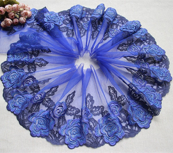 """5 Meter 18cm 7.08"""" Wide Royal Blue Red Mesh Tulle Gauze Embroidered Tapes Lace Trim Ribbon Fabric 185A8L11F48"""