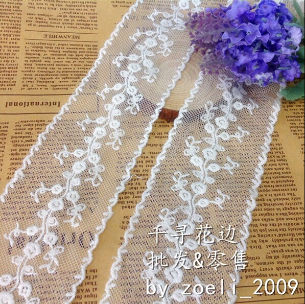 """10 Yards/Lot Width 5.5cm 2.16"""" White Cotton Mesh Embroidery Lace Trim Ribbon Fabric For Dress Clothes L4K58 19875"""