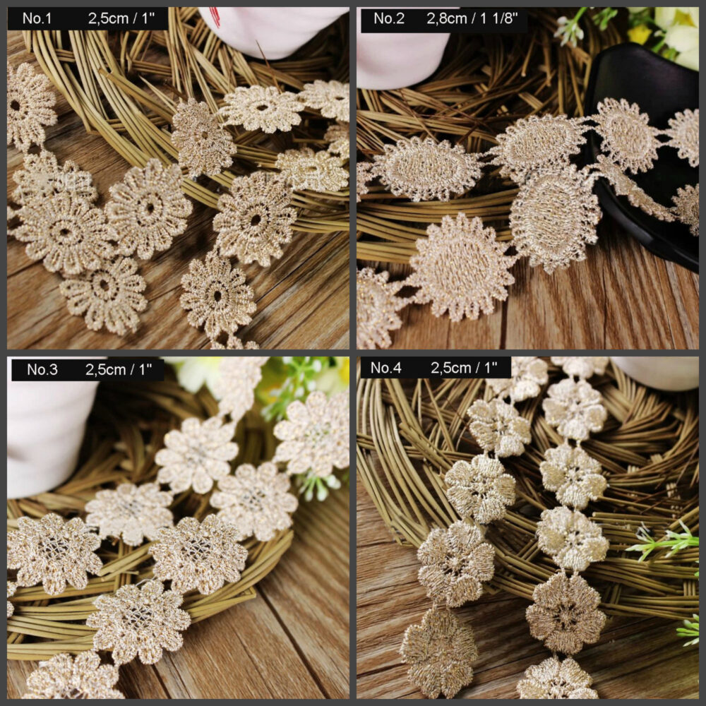 """Gold Beige Flower Venice Lace Trim Ribbon Embroidered 1"""" Applique Patch Floral Motif Daisy Sunflower Forget Me Not Sewing Decor Hair Dress"""