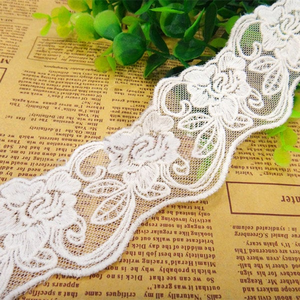 """10 Yards/Lot Width 5.5cm 2.16"""" White Mesh Embroidery Lace Trim Ribbon Fabric For Dress Skirt Clothes L4K706 20340"""