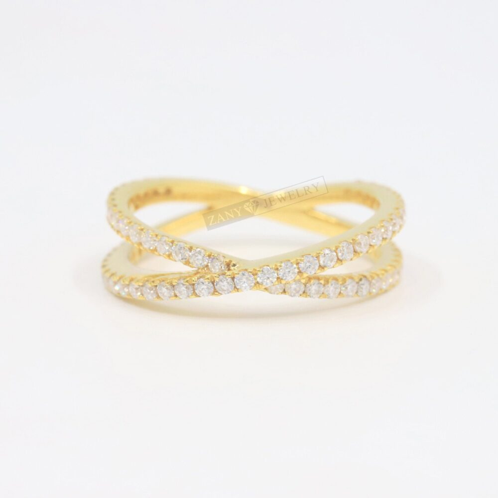 """Round Moissanite Matching Wedding Band, Criss Cross Band in 14K Yellow Gold, 1/2 Eternity """"x"""" Ring"""