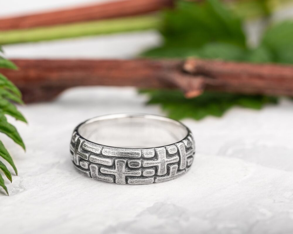 Sterling Silver Puzzle Ring, Male Wedding Band, Hammered Sterling Cross Bands For Men