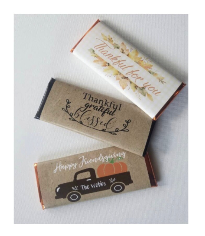 Thanksgiving Party Favors | Friendsgiving Falliday Shower Gifts Fall Wedding Affordable Personalized Hershey Bar Chocolates Set Of 10