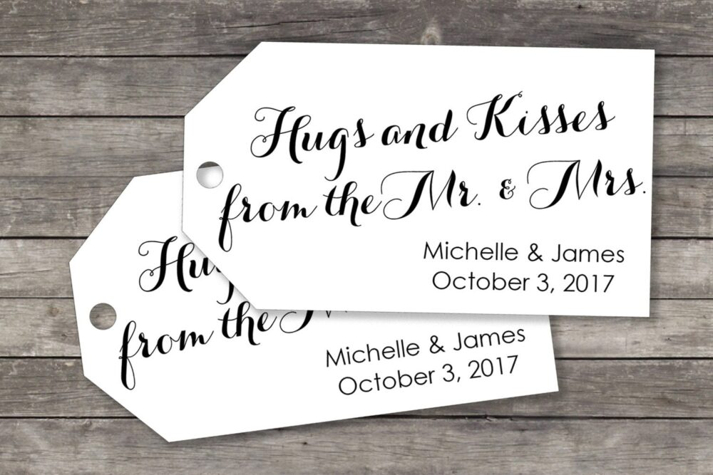 Wedding Favor Tag - Small Size Hugs & Kisses From The Mr Mrs 40 Pieces Chocolate Favors