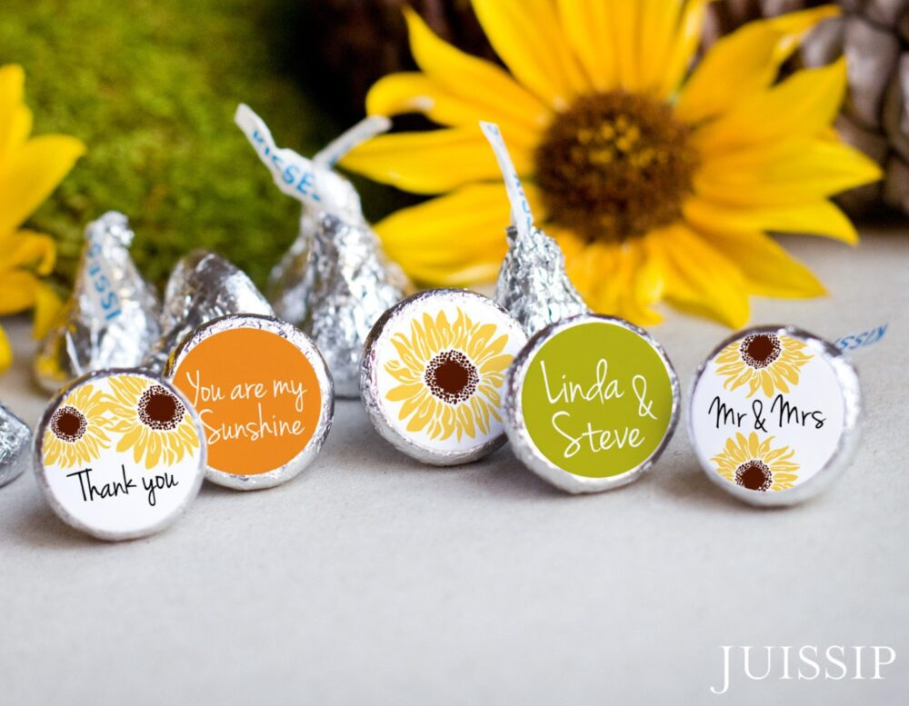 120 Sunflower Hershey Kiss Stickers - Printed Personalized Labels Fall Wedding Yellow Sunflower Favor Ready To Use Southern