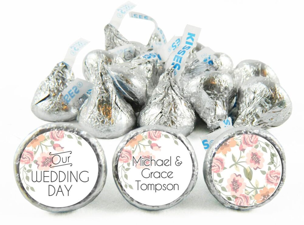 Floral Our Wedding Day Stickers For Hershey's Kisses. Labels Kisses - Party Favors Set Of 108