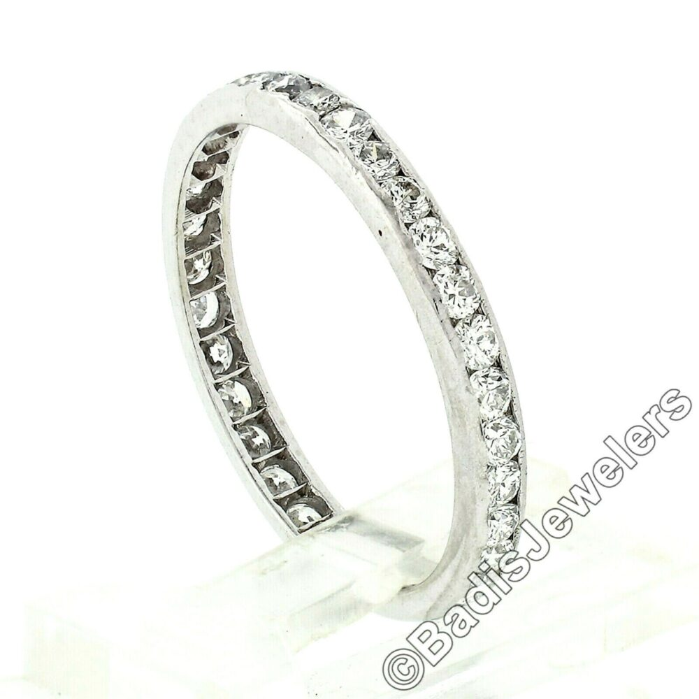 Antique Late Art Deco Platinum 1.02Ctw Old European & Round Transitional Cut Channel Set Diamonds Eternity Wedding Stackable Band Ring
