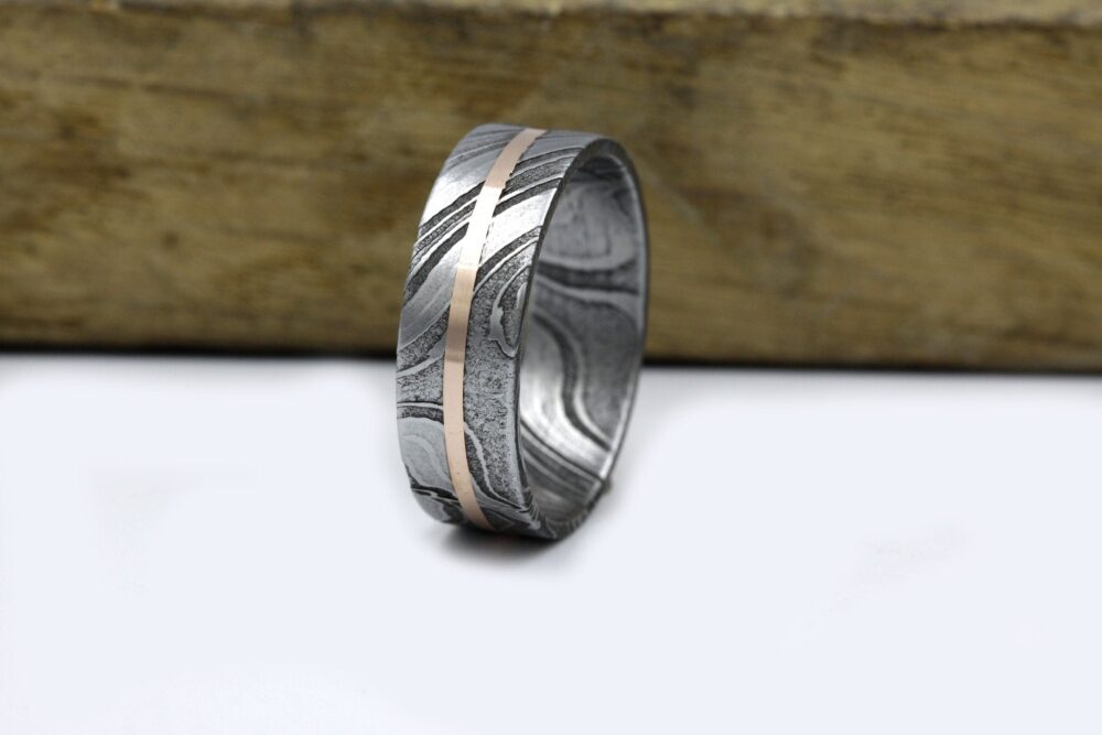 Damascus Steel Man Wedding Band Copper Lined Woman Jewelry For Anniversary Size 3 To 16 Flat