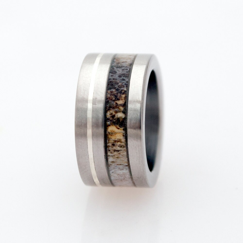 Antler Ring Mens Wedding Band Woman Engagement Titanium Silver Lined