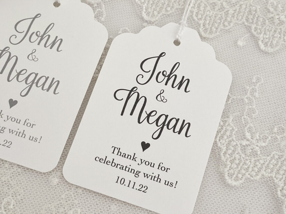 Wedding Favor Tags With Names, Bride & Groom Name Date Tags, Personalized Printed