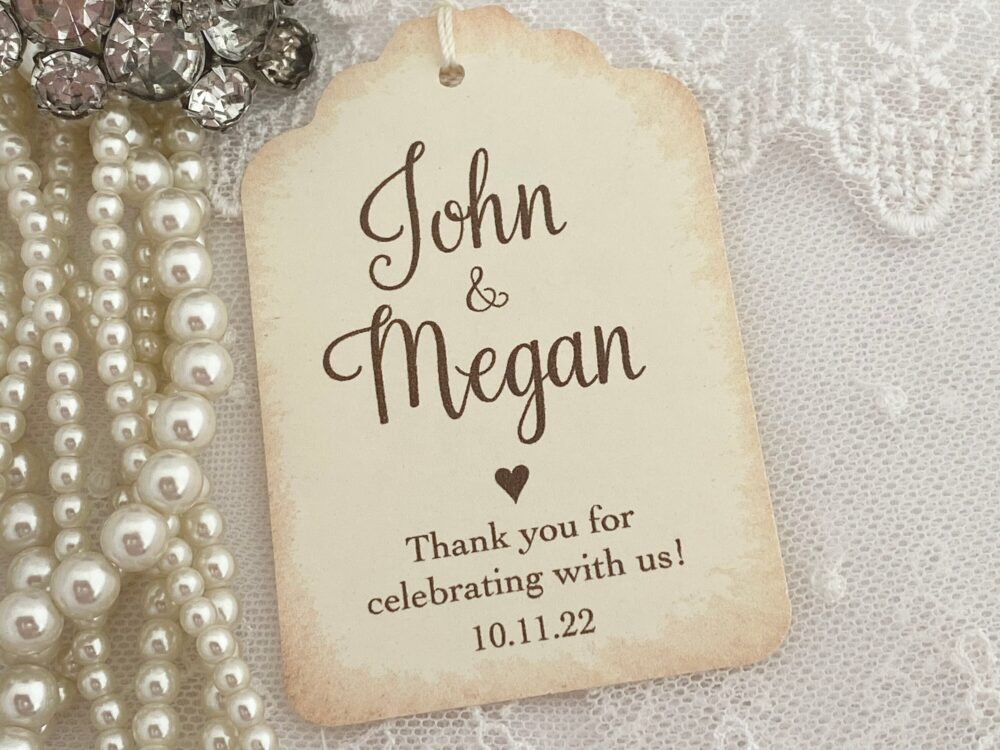 Printed Personalized Wedding Favor Tags, Bride & Groom Name Vintage Style Tags