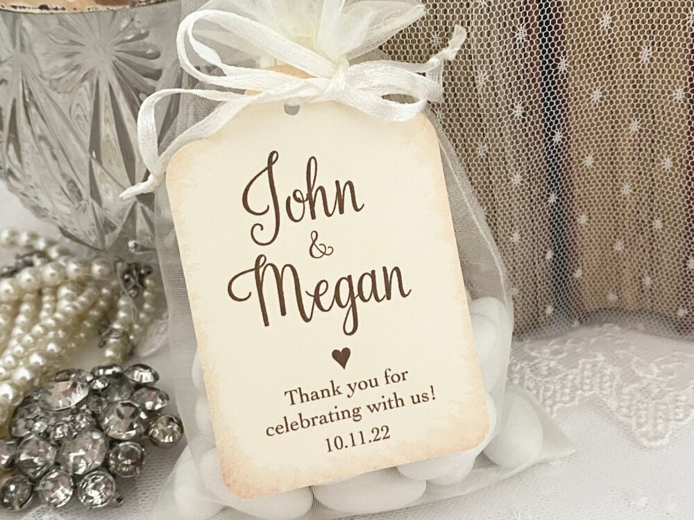 Personalized Wedding Favors Bags, Husband & Wife Favor Bride Groom Printed Name Date
