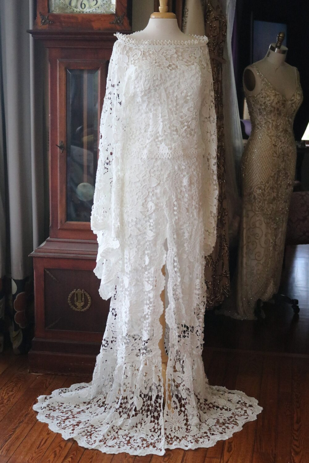 Guinevere Lace Strapless Lace Gown Boat Neck Poet Sleeve Hippie Fantasy Wedding