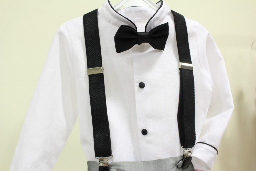 Boy Ring Bearer Suit With Bow Tie. Grey Silk Pants, With White Linen Shirt & Black Tie.black Suspenders(Separately. Outfit Wedding