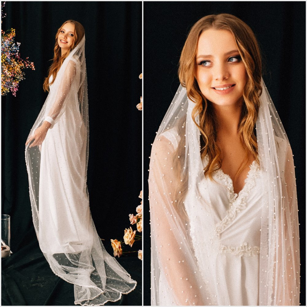 Wedding Veil Sahara, Bridal Pearl Veil, Chapel Cathedral Veil , Tulle Cathedral Length, With Comb, One Tier