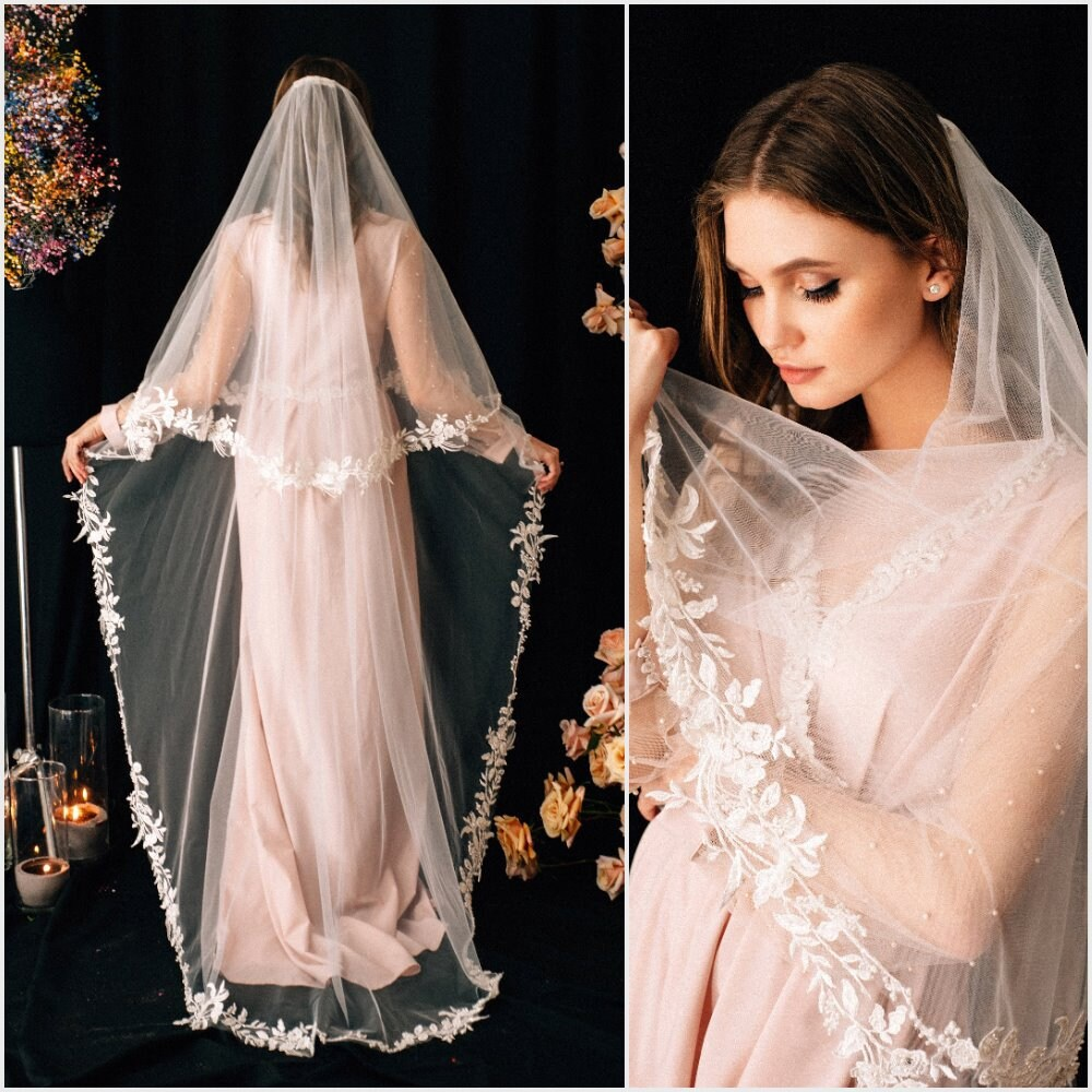 Lace Wedding Veil Cher, Bridal Veil, Chapel Cathedral Veil , Tulle Cathedral Length, With Comb, Two Tier Veils