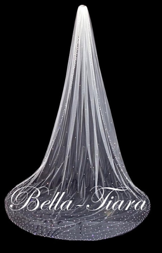 """144"""" Long Crystal Veil, Cathedral Wedding Royal Veil With Blusher"""