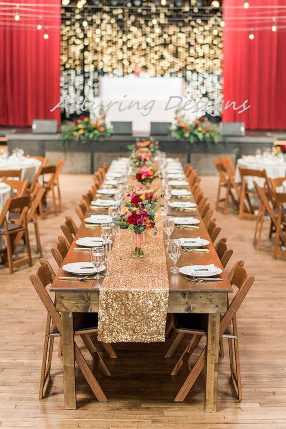 Gold Sequin Linens Tablecloth Runner Overlay Wedding Event Party Anniversary Shower Bridal Reception Glitz Bling Decor Cake Sweetheart Table