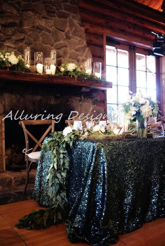 Emerald Sequin Linens Tablecloth Runner Overlay Wedding Event Party Anniversary Shower Bridal Reception Glitz Bling Decor Cake Sweetheart