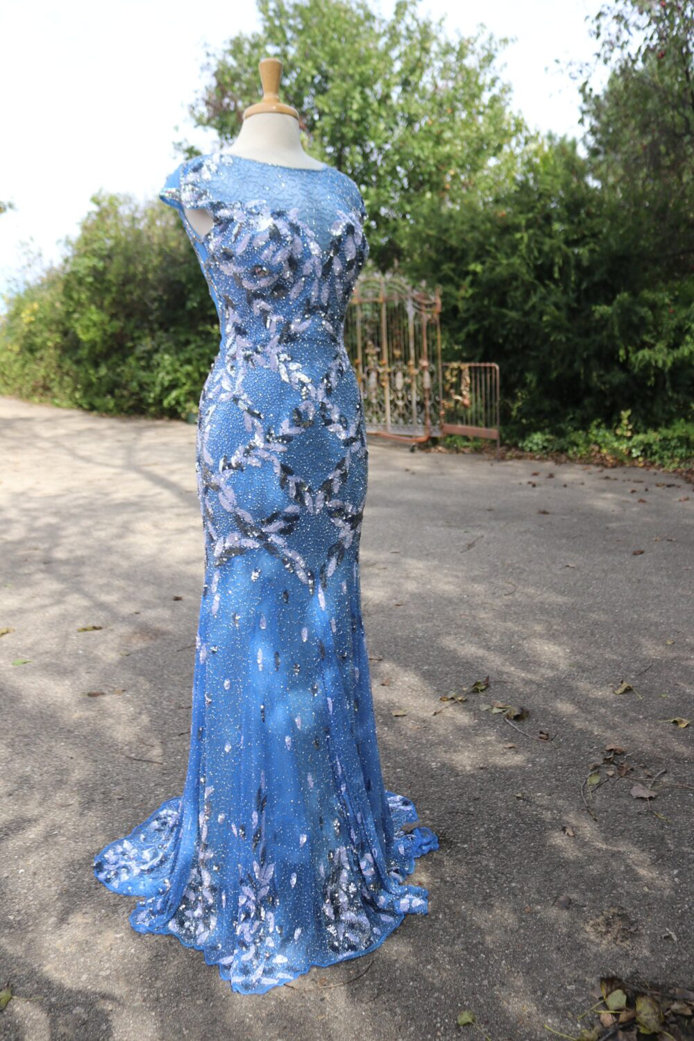Perriwinkle Blue Silver Beaded Flapper 1920S Dress Alternative Wedding Gown Something Reception