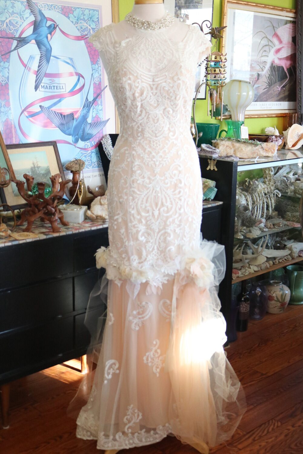 Deco Beaded Lace Flapper Fit N Flare Wedding Dress Bridal Gown