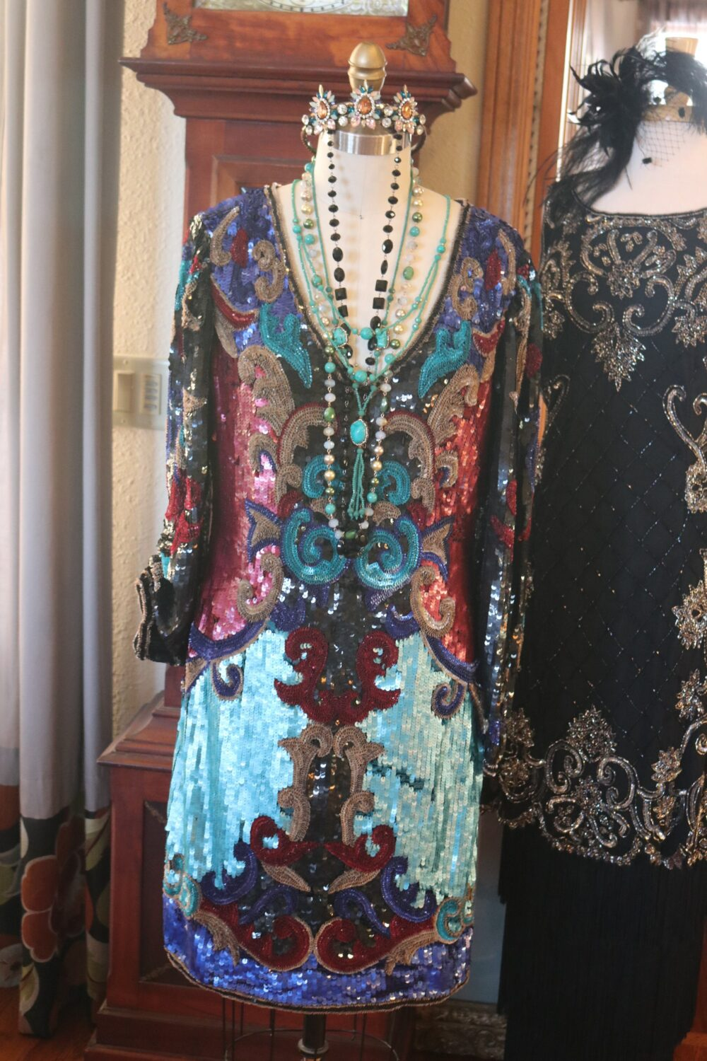 Multicolored Beaded Jeweled Flapper Wedding Gown Evening Mob Dress Wow