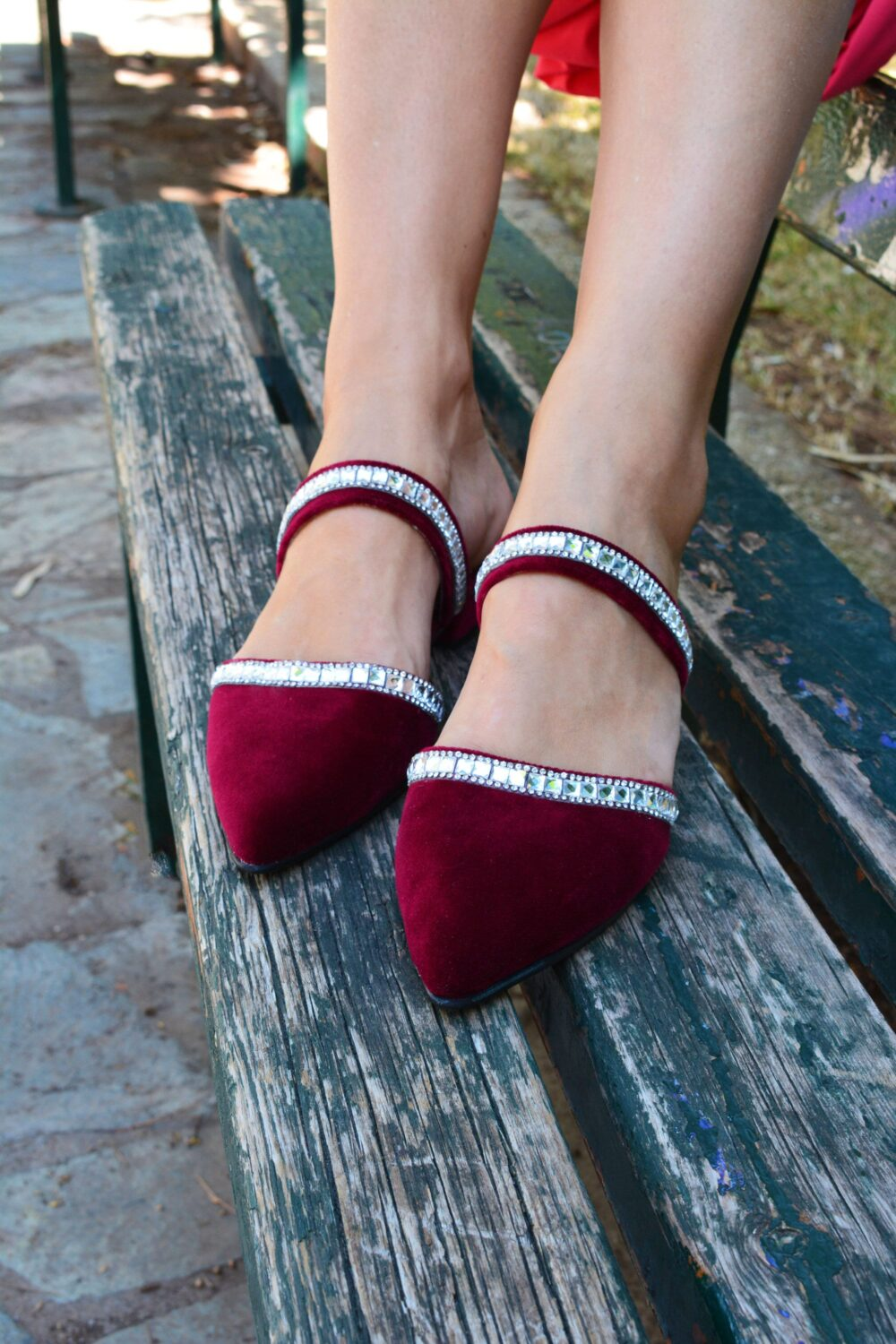 Red Velvet Wedding Shoes, Bridal Pointy Toe Flats, Flats For Wedding, Christmas Gift